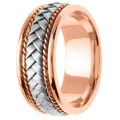 14K Two Tone Rose Pink White Gold Hand Braided Wedding Band 8.5mm