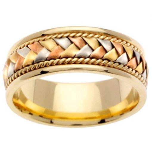 14K Tri Color Gold Hand Braided Wedding Band 8.5mm