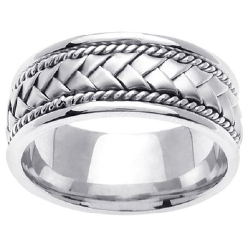 14K White Gold Hand Braided Wedding Ring Band 8.5mm