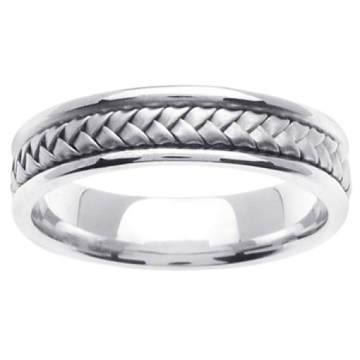14K White Gold Hand Braided Wedding Ring Band 5.5mm