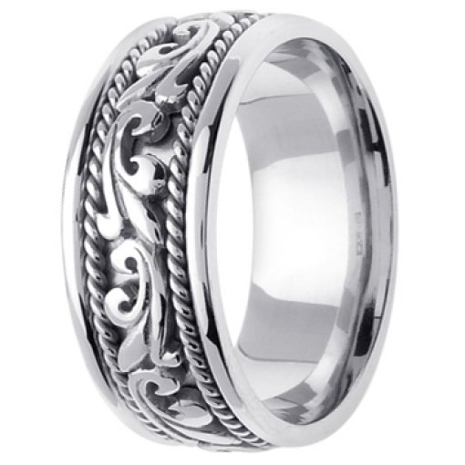 14K White Gold Art Deco Theme Wedding Ring Band 9mm