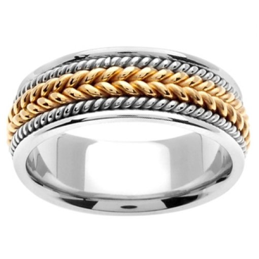 14K Two Tone White Yellow Gold Hand Braided Wedding Ring Band 8mm
