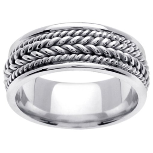 14K White Gold Hand Braided Wedding Ring Band 8mm