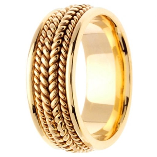 14K Yellow Gold Hand Braided Wedding Ring Band 8mm
