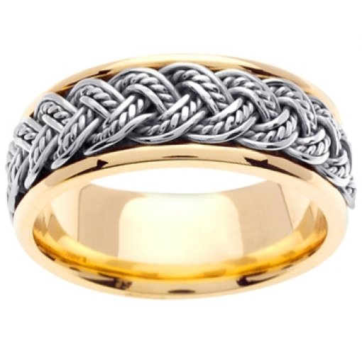 14K Two Tone Yellow White Gold Rope Hand Braided Wedding Band 8mm