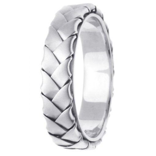 14K White Gold Hand Braided Design Wedding Ring Band 5mm