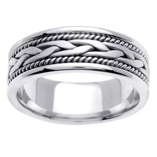 14K White Gold Hand Braided Crafted Wedding Ring Band 7mm