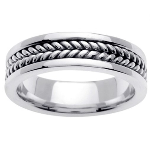 14K White Gold Hand Braided Crafted Wedding Ring Band 6mm