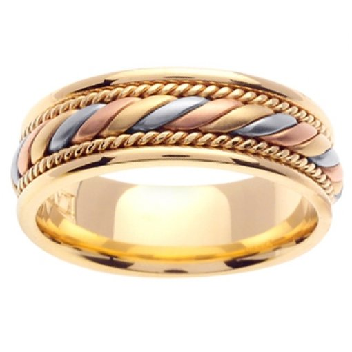 14K Tri Color Yellow White Rose Gold Hand Braided Wedding Band 7mm