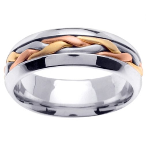 14K Tri Color White Yellow Rose Gold Hand Braided Wedding Band 7mm