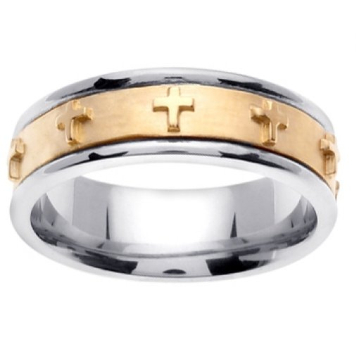 14K Two Tone Gold Christian Religious Cross Wedding Band 7mm