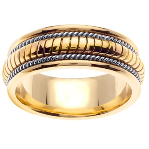 14K Two Tone Yellow White Gold Hand Crafted Wedding Ring Band 8mm