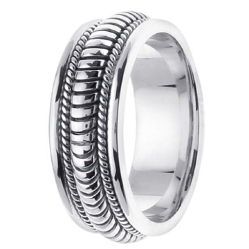 14K White Gold Hand Crafted Wedding Ring Band 8mm
