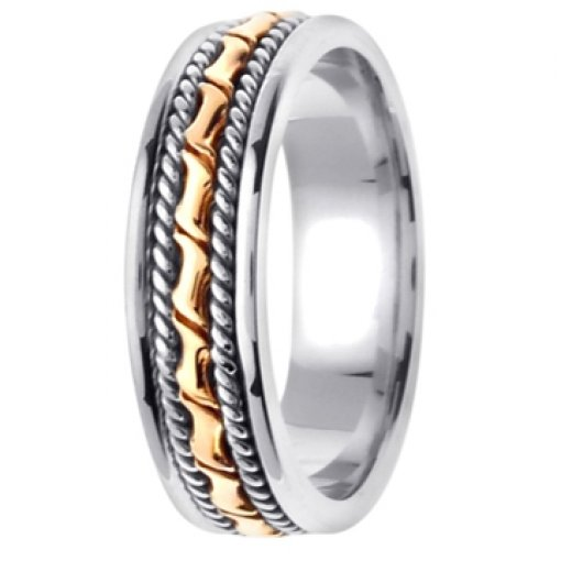 14K Two Tone White Yellow Gold Hand Crafted Wedding Ring Band 6mm
