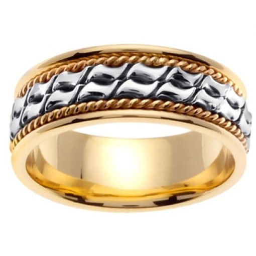14K Two Tone Yellow White Gold Two Row Hand Crafted Wedding Band 8mm