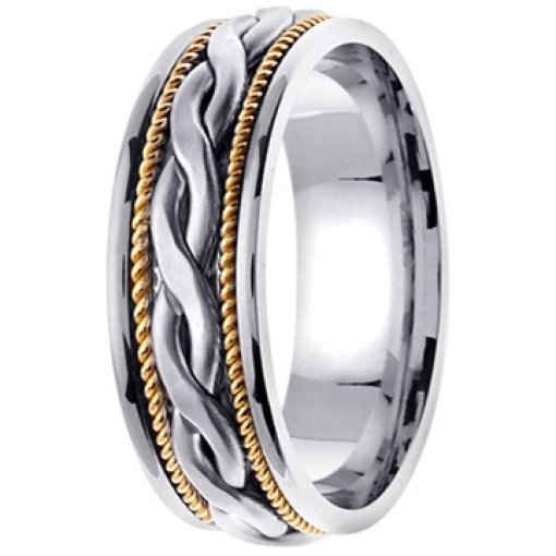 14K Two Tone White Yellow Gold Celtic Braid Wedding Ring Band 7mm