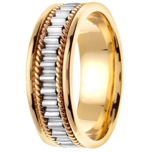 14K Two Tone Gold Rope Columns & Pillars Wedding Band 7mm