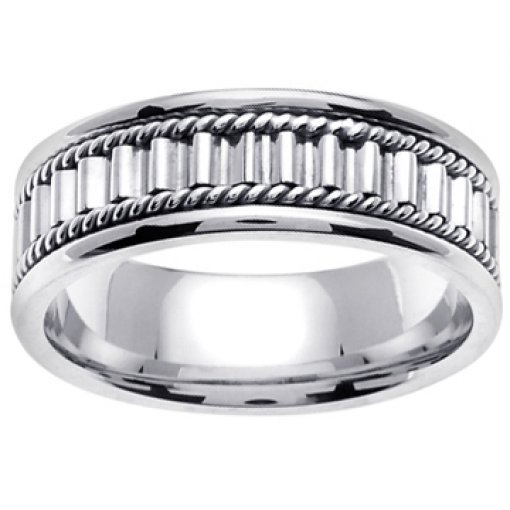 14K White Gold Rope Columns & Pillars Wedding Ring Band 7mm