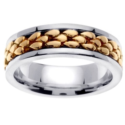 14K Two Tone White Yellow Gold Designer Wedding Ring Band 7mm