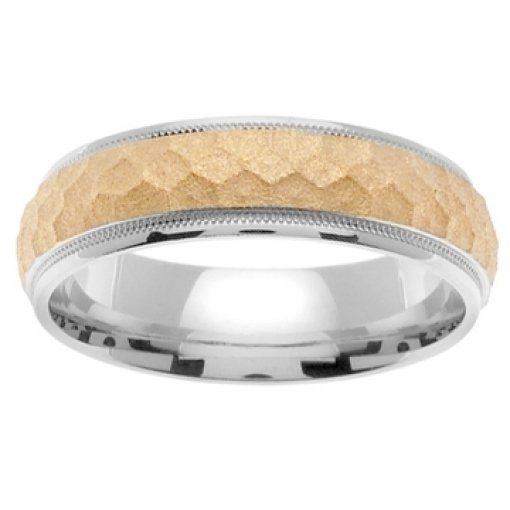 14K Two Tone White Yellow Gold Textured Honeycomb Wedding Band 7mm