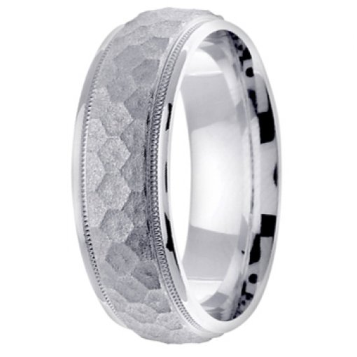 14K White Gold Textured Honeycomb Design Milgrain Wedding Band 7mm