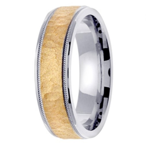 14K Two Tone White Yellow Gold Textured Hammer Wedding Band 6mm
