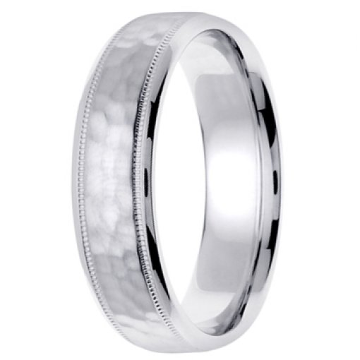 14K White Gold Textured Hammer Design Milgrain Wedding Ring Band 6mm