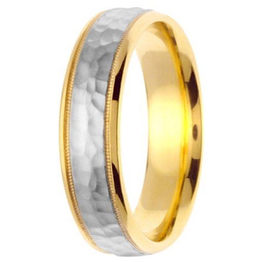 14K Two Tone Yellow White Gold Hammer Milgrain Wedding Band 6mm
