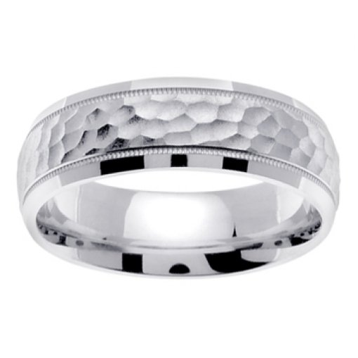 14K White Gold Textured Hammer Design Milgrain Wedding Ring Band 7mm