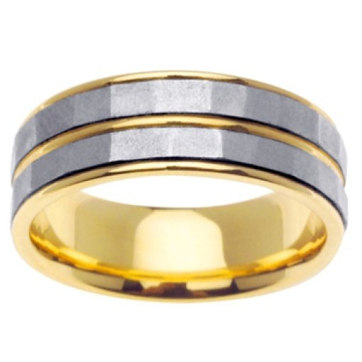 14K Two Tone Yellow White Gold Two Row Textured Wedding Band 7.5mm