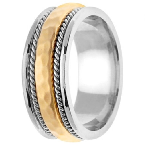 14K Two Tone White Yellow Gold Two Row Hammer Wedding Band 8.5mm
