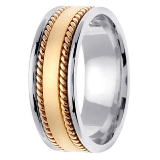 14K Two Tone Gold Two Row Rope Satin Wedding Band 8mm