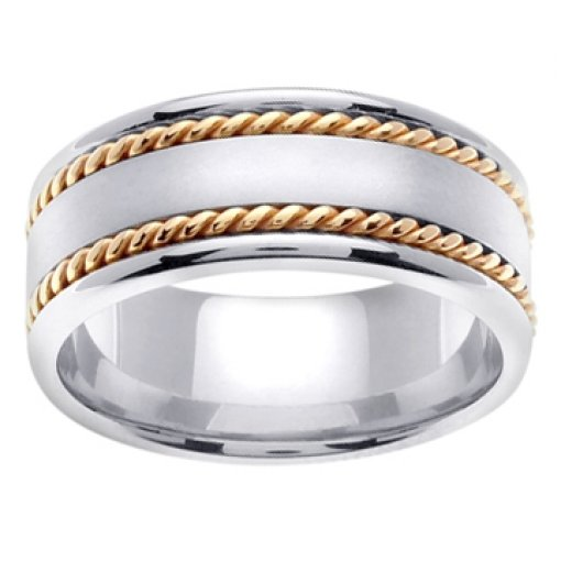 14K Two Tone White Yellow Gold Two Row Rope Satin Wedding Band 8mm