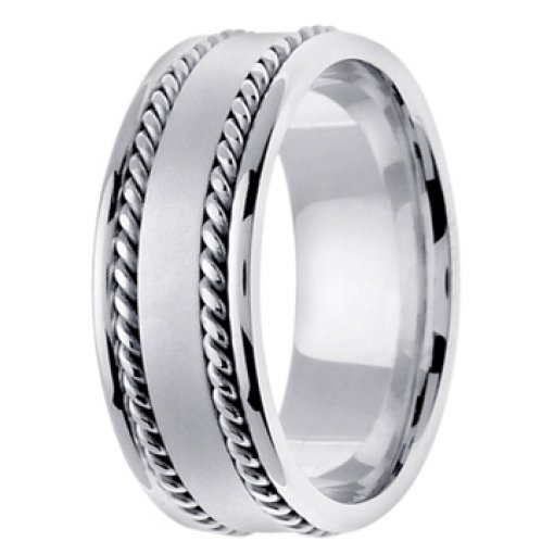 14K White Gold Two Row Rope Satin Textured Wedding Ring Band 8mm