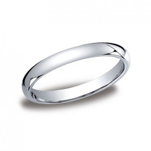 Benchmark 3mm Comfort Fit 14K White Gold Plain Wedding Ring Band