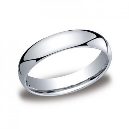 Benchmark 5mm Comfort Fit 18K White Gold Plain Wedding Ring Band