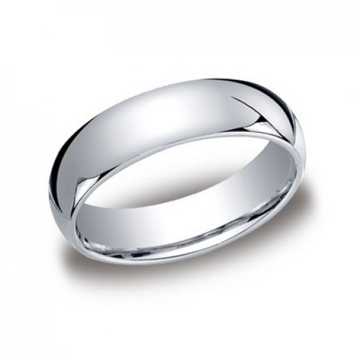 Benchmark 6mm Comfort Fit 18K White Gold Plain Wedding Ring Band
