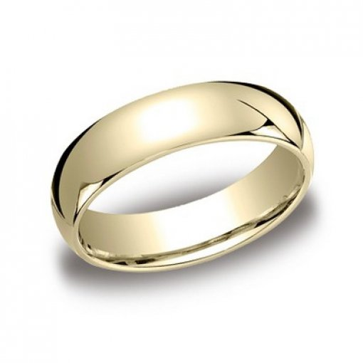 Benchmark 6mm Comfort Fit 14K Yellow Gold Plain Wedding Ring Band