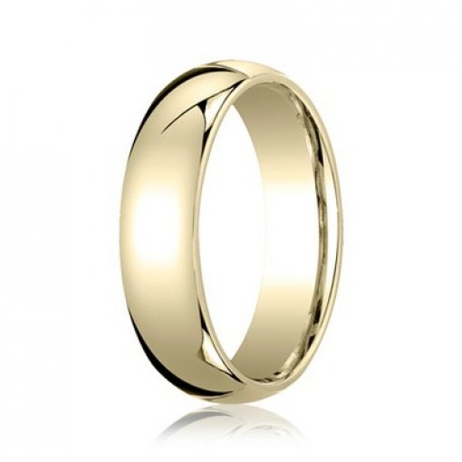 Benchmark 6mm Comfort Fit 18K Yellow Gold Plain Wedding Ring Band