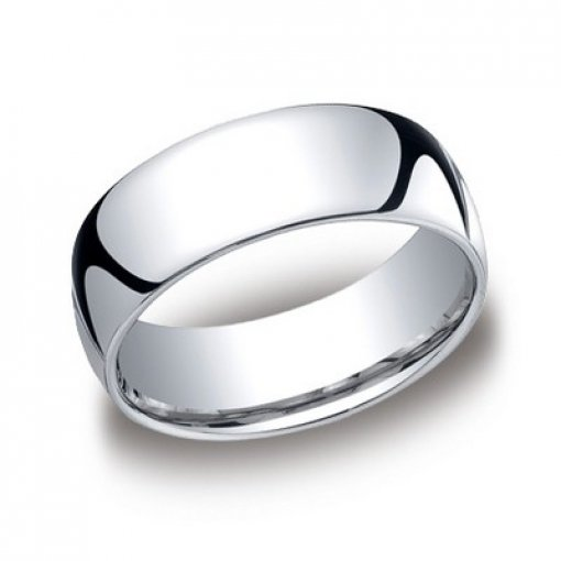 Benchmark 8mm Comfort Fit 18K White Gold Plain Wedding Ring Band
