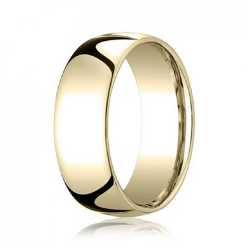 Benchmark 8mm Comfort Fit 18K Yellow Gold Plain Wedding Ring Band