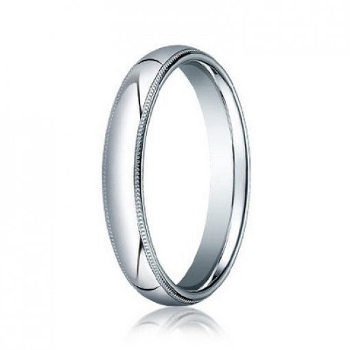 Benchmark 4mm Comfort Fit Platinum Milgrain Wedding Ring Band