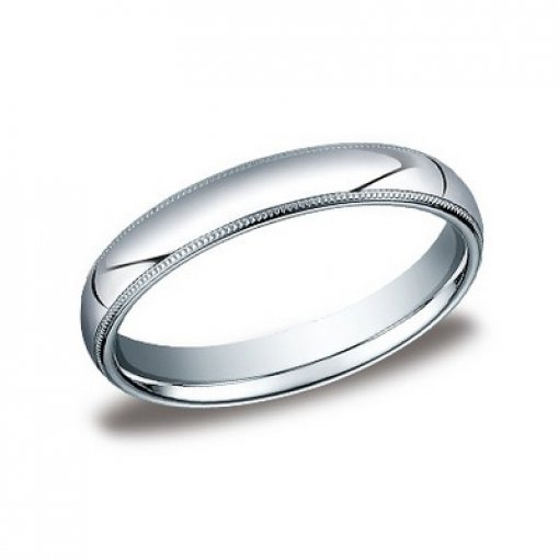 Benchmark 4mm Comfort Fit 14K White Gold Milgrain Wedding Ring Band