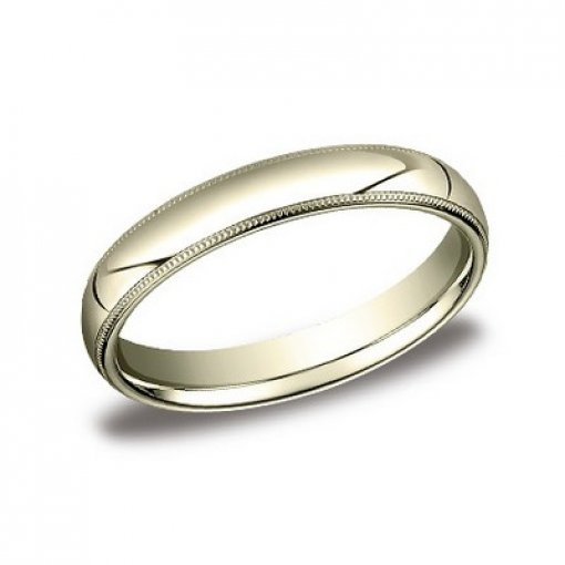 Benchmark 4mm Comfort Fit 14K Yellow Gold Milgrain Wedding Ring Band