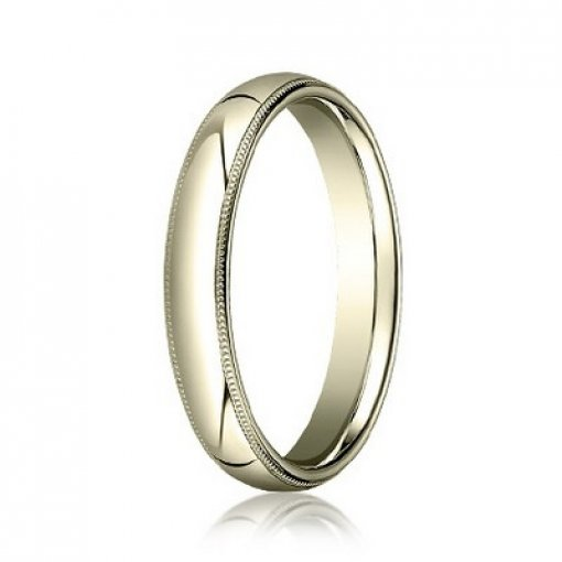 Benchmark 4mm Comfort Fit 18K Yellow Gold Milgrain Wedding Ring Band
