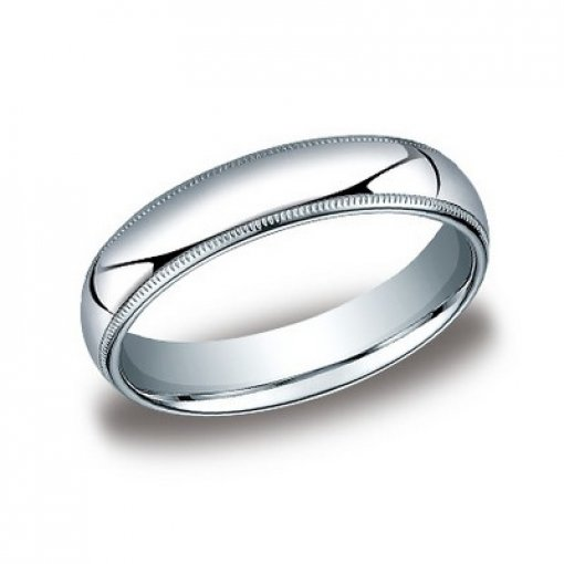 Benchmark 5mm Comfort Fit Platinum Milgrain Wedding Ring Band