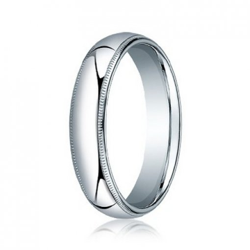 Benchmark 5mm Comfort Fit 18K White Gold Milgrain Wedding Ring Band