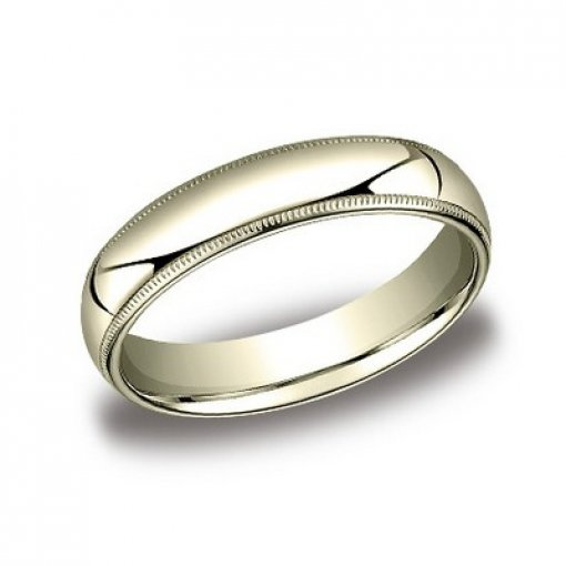 Benchmark 5mm Comfort Fit 18K Yellow Gold Milgrain Wedding Ring Band