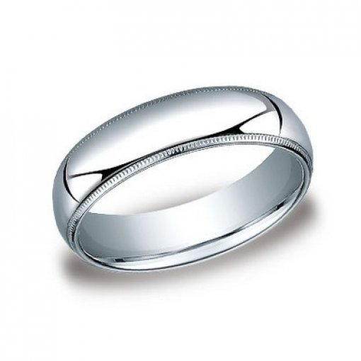 Benchmark 6mm Comfort Fit 14K White Gold Milgrain Wedding Ring Band