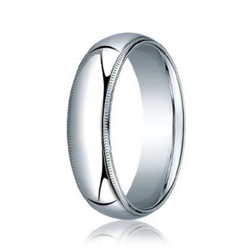 Benchmark 8mm Comfort Fit 18K White Gold Milgrain Wedding Ring Band